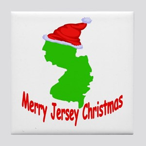 Merry Jersey Christmas Tile Coaster