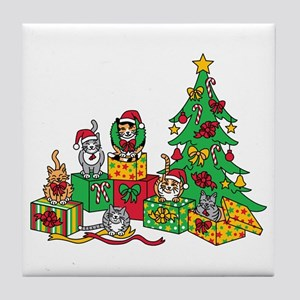 Christmas Cats Tile Coaster