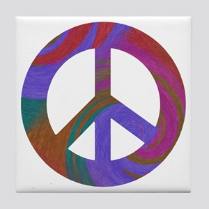 Peace Sign Swirl Tile Coaster
