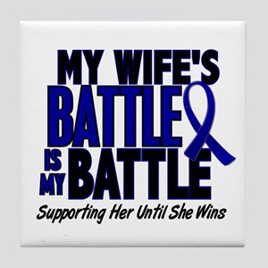 My Battle Too 1 BLUE (Wife) Tile Coaster