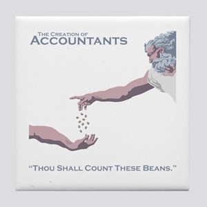 The Creation of Accountants Tile Coaster