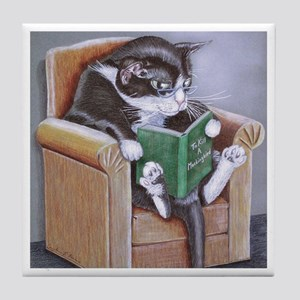 Reading Cat Tile Coaster