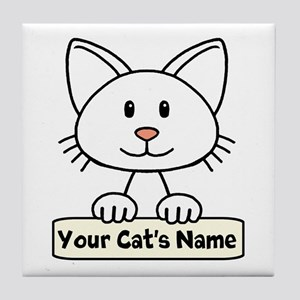 Personalized White Cat Tile Coaster