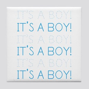 Blue It's a Boy Tile Coaster