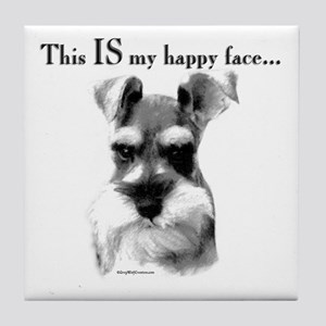Schnauzer Happy Face Tile Coaster