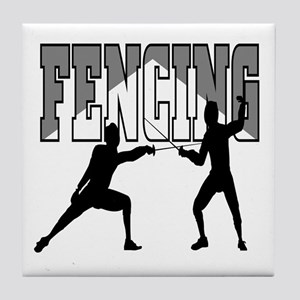 Fencing Logo (Black & Grey) Tile Coaster