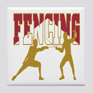 Fencing Logo (Red & Gold) Tile Coaster
