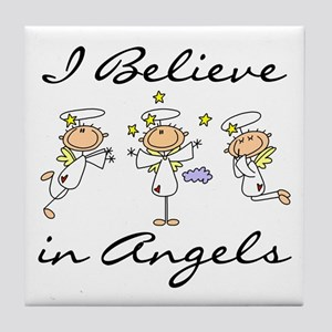 I Believe in Angels Tile Coaster