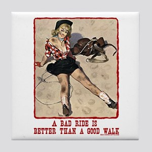 Cowgirl Bad Ride Tile Coaster