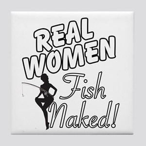 Real Women Fish Naked Tile Coaster