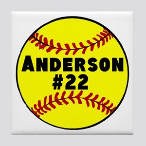 Personalized Softball Tile Coaster