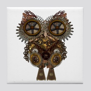 Large Steampunk Owl Tile Coaster
