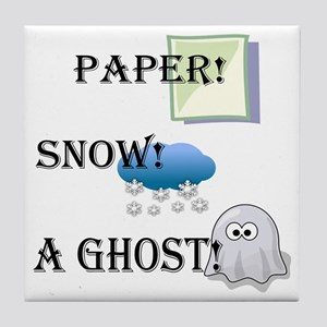 Paper! Snow! A Ghost! Tile Coaster