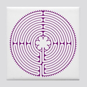 Chartres Labyrinth Tile Coaster - Purple