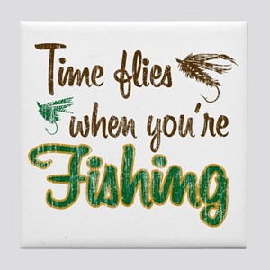 Time Flies When Fishing Tile Coaster