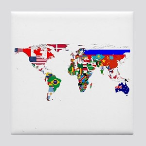 World Map With Flags Tile Coaster
