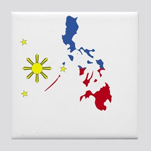 Pinoy Pride Map for dark garmets Tile Coaster