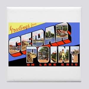 Cedar Point Ohio Greetings Tile Coaster