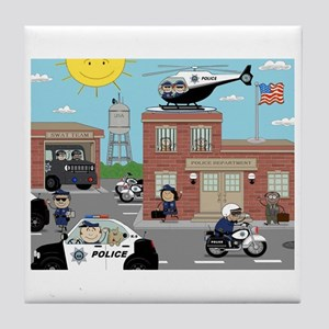 POLICE DEPARTMENT SCENE Tile Coaster