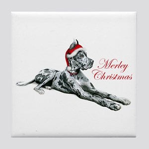 Great Dane Merley Christmas Tile Coaster