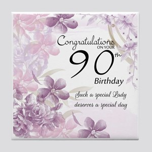 90th Birthday Celebration Design Tile Coaster