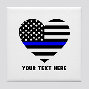 Thin Blue Line Love Tile Coaster