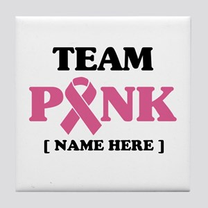 Pink Ribbon Awareness Team Tile Coaster