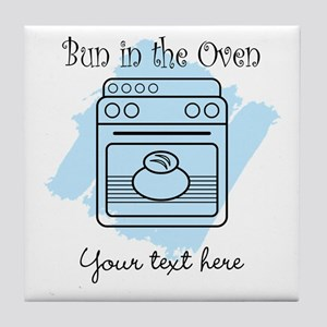 Bun in the Oven (blue) Tile Coaster