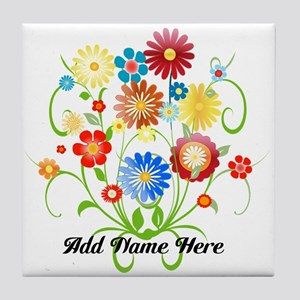 Personalized floral light Tile Coaster
