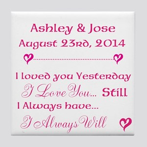 Bride and Groom Quotes Dates Tile Coaster