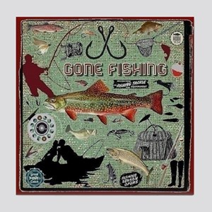 Gone Fishing Tile Coaster