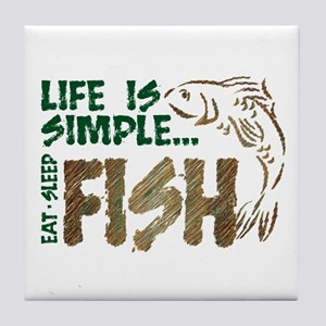 Life Is Simple...FISH Tile Coaster