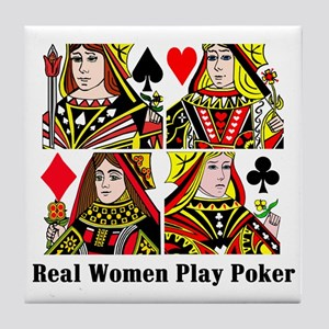 Real Women Play Poker Tile Coaster