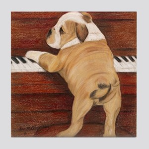 Piano Pup Tile Coaster