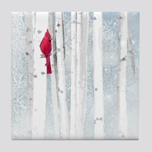 Red Cardinal Bird Snow Birch Trees Tile Coaster