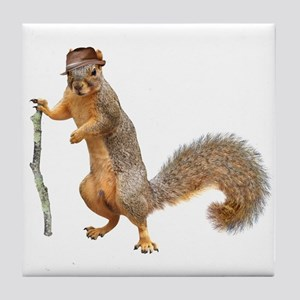 Squirrel Hat Stick Tile Coaster