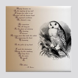 Owl with poem Tile Coaster