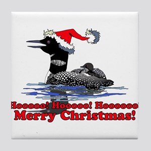 Christmas Loon Tile Coaster
