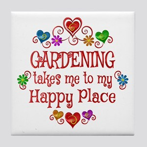 Gardening Happy Place Tile Coaster