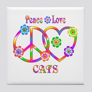 Peace Love Cats Tile Coaster