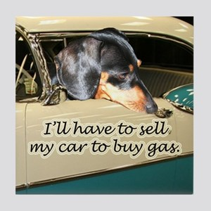 To Buy Gas Dachshund Dog Tile Coaster