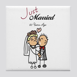 Just Married 60 years ago Tile Coaster
