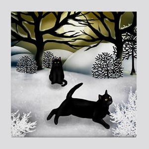Black Cats Winter Sunset Tile Coaster