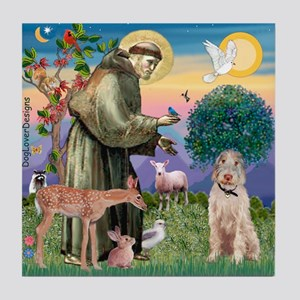 Saint Francis /Spinone(w) Tile Coaster