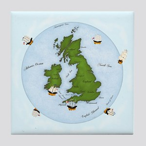 The World (England) Map Tile Coaster