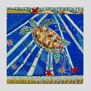 Starfish And Turtle Seascape Tile Coaster
