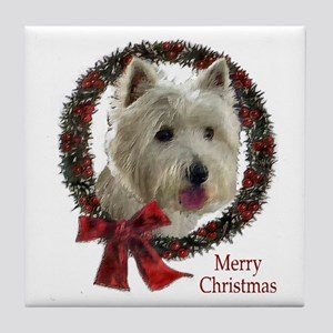 westie wreath Tile Coaster