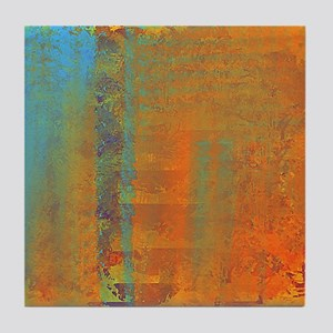 Abstract in Aqua, Copper and Gold Tile Coaster