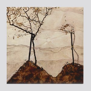 Autumn Sun and Trees by Egon Schiele Tile Coaster