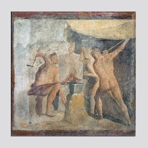 Forge of Hephaistos, Roman fresco - Tile Coaster